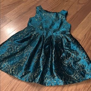 Girls Baroque Print Dress w/matching headband